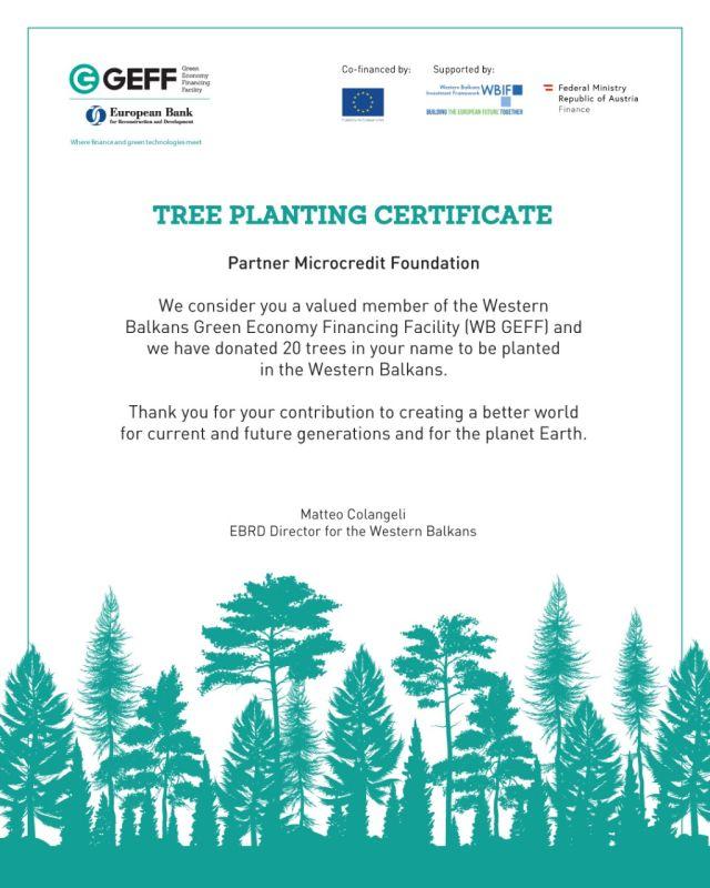 EBRD nagrađuje Partnerov doprinos uspjehu WB GEFF programa